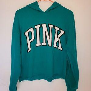 Pink Victoria secret distressed hooded sweatshirt
